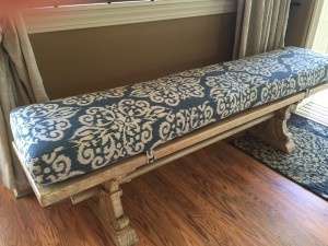 A bench on the side in the dining room can easily be pulled up to accomodate more revelers