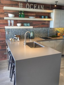 The Caesarstone counter 'waterfalls' down the side