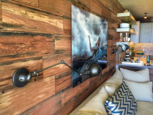 Reclaimed redwood walls