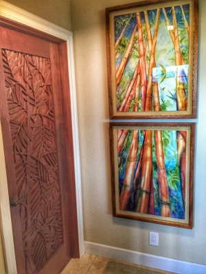 A double hung bamboo watercolor by famed artist Chris Waara