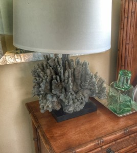 Coral lamps grace the guest bedroom