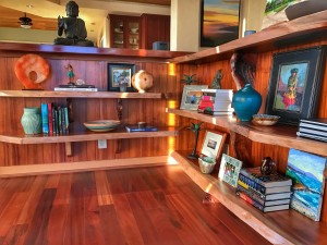 Detail of koa shelves