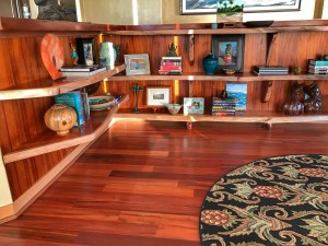 Cantilevered koa shelves