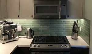Overview of new backsplash with new LED lighting