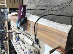 Koa slab shelves in the workshop