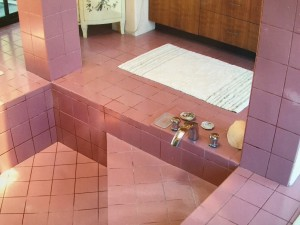 "Master bath was covered wall-to-wall in Pepto-Bismal 6"" square tiles"